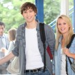 Boy and girl at school — Stockfoto