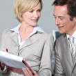 Business colleagues looking at clipboard. — Stock Photo #8924397