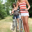 Two teenage girls riding bikes in the park — Stock Photo