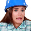 Stock Photo: Terror-stricken tradeswoman