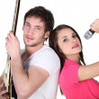 A singer and a guitar player — Stock Photo