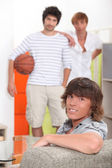 Guys waiting to play basketball — Stock Photo