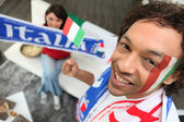 Man supporting the Italian national football team — Stock Photo