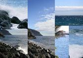 Sahil ve deniz kayalıklarla — Stok fotoğraf