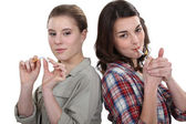 Women for and against smoking — Stock Photo