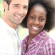 Stock Photo: Portrait of interracial couple