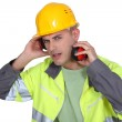 Construction worker with earmuffs — Stock Photo