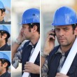 Stock Photo: Snapshots of young mwith blue safety helmet on phone