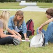 Students sitting in a park — Stock Photo #8931202