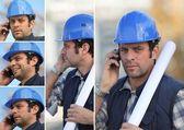 電話で青い安全ヘルメットと若い男のスナップショット — ストック写真