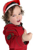 Cute little boy giving the thumbs-up — Stock Photo