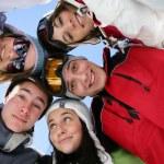 Friends at ski — Stock Photo
