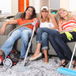 Girls tired after cleaning — Stock Photo #8954109