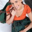 Stock Photo: Young woman with travel bags