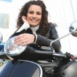 Womriding motorcycle — Stock Photo #8955297