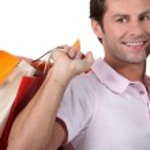 Man on phone shopping — Stock Photo