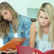 Two female students with folders - Stock Photo