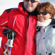 Portrait of a couple on a skiing holiday — Stock Photo #8956974