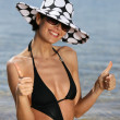 Trendy woman at the beach — Stock Photo #8957396