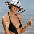 Trendy woman at the beach - Foto Stock