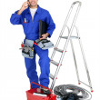 Electrician equipped - Foto Stock