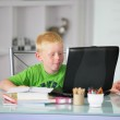 Little boy doing his homework at home — Stock Photo