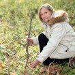 Woman hunting for wild mushrooms — Stock Photo