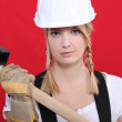 Girl holding mallet — Stock Photo