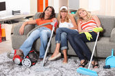 Girls tired after cleaning — Stock Photo
