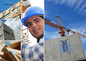 Photo-montage of construction industry — Stock Photo