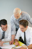 A team of business professionals looking at the budget — Stock Photo