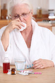 A sick old lady. — Stock Photo