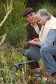 Elderly couple watering flowers — Stock Photo