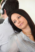 Woman leaning against her partner — Stock Photo