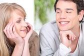 Couple flirting at home — Stock Photo