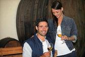 Couple tasting wine — Stock Photo