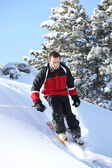 Male downhill skier — Stock Photo