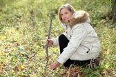 Woman hunting for wild mushrooms — Stock Photo