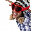 Stock Photo: Young min snow hat and goggles