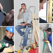 Interior building work themed collage - Foto Stock