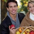 Stock Photo: Couple gathering apples in garden
