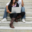 Stock Photo: Young couple with a laptop