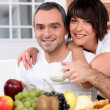 Husband and wife having breakfast — Stock Photo #8963592