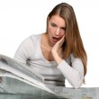 A young woman astonished at the news. — Stock Photo #8963628