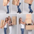 Collage of women on moving day — Stock Photo #8964049