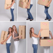 Collage of women on moving day — Stock Photo