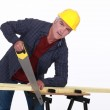 Craftsman cutting a board with a saw — Stock Photo #8964348
