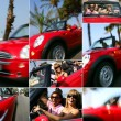 A walk in a red convertible car on the coast - Stock Photo