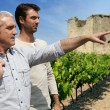 Vintner visiting the winery — Stock Photo