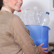 Housewife sorting household-waste — Stock Photo